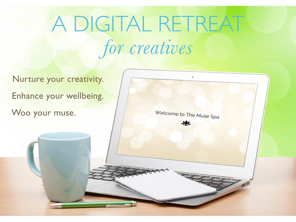 digital retreat for creatives nurture creativity enhance wellbeing woo muse laptop image